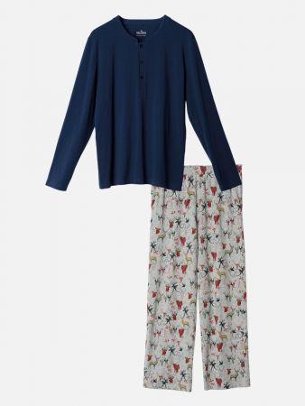 Wild Night - Pyjamahose - Blau-Bunt
